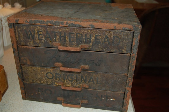 Vintage Industrial Metal Parts Cabinet - Includes Brass Fittings - Fittings Original Weathered Equipment