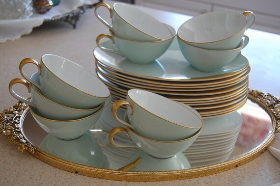 Vintage Seafoam Green Gold Gilt Tea/Sandwich Plate and Tea Cups Shabby Chic at Retro Daisy Girl