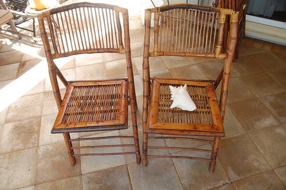 items similar to vintage bamboo folding chairs three