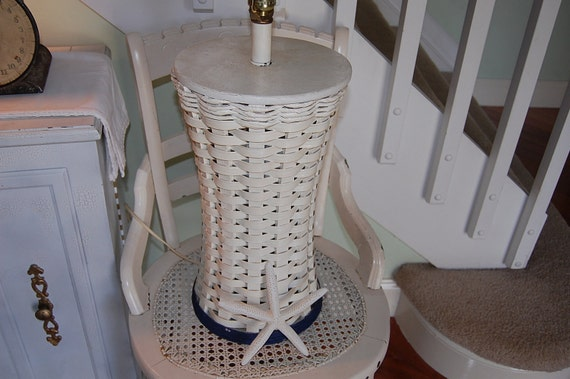 Vintage cottage wicker lamp with navy blue band at Retro Daisy Girl