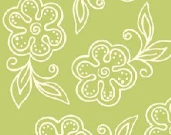 Sanibel by Heather Mulber Peterson for Henry Glass Lime Green Floral Tonal   1 yard
