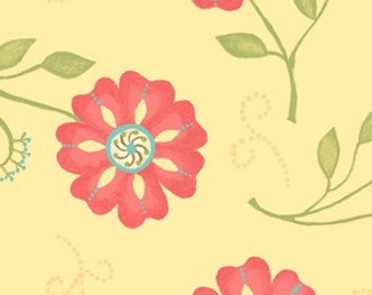 Sanibel by Heather Mulber Peterson for Henry Glass Pale Yellow Tossed Cosmos Flowers  1 yard