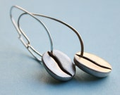 Coffee Girl Earrings - Sterling Silver Egg-Shaped Hoop Earrings with Coffee Bean Charms