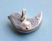 Little Birdie Charm - Sterling Silver Hammered Bird Charm/Pendant Only