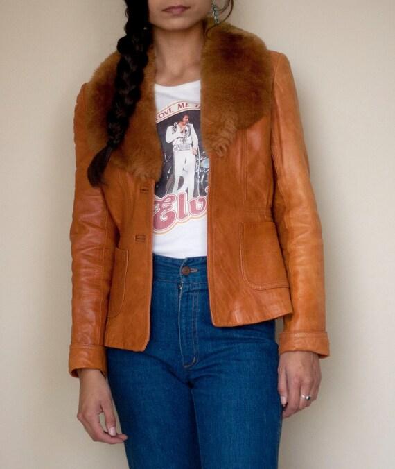 Jacket Leather Sheepskin Sheepmates Light Brown Orange w/ Fur Collar 1970s