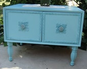 Turquoise End Table or Beside Table