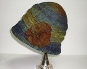 Felt Hat Brown Green Bronze Turquoise Blue Winter Fall Autumn Fashion - Svetusha