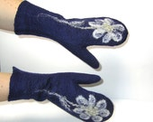 Felted Mittens Snow Flowers Dark Blue White Winter