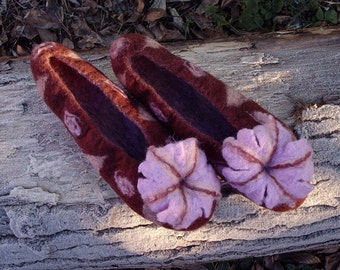 Felted slippers / Brown / Pink / Purple / Handmade