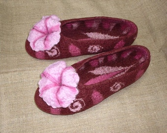 Felted slippers / Marmalade and Chocolate / Brown / Pink / Purple / Handmade
