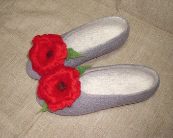 Felted slippers / Red Poppies ... / White / Grey / Green / Brown  / Handmade