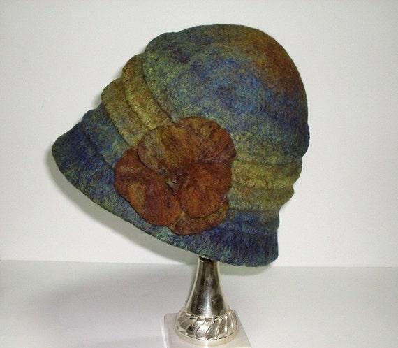 Felt Hat Brown Green Bronze Turquoise Blue Winter Fall Autumn Fashion