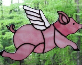 Stained Glass Flying Pig