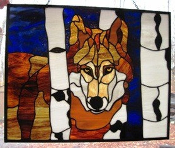 Stained Glass Wolf In Birch Trees Panel