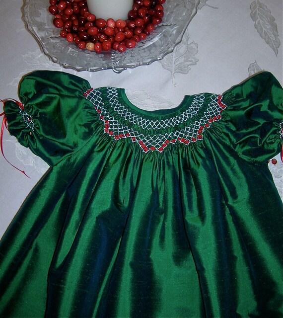 Girls smocked bishop christmas dress green silk dupioni with bloomers
