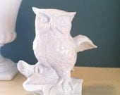 Vintage Repurposed Owl figurine in Cottage Style White