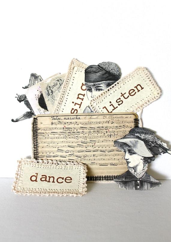 Викторианской Скрапбукинг Приукрашивание обновления Музыкальная тема Vintage черными чернилами чертеж разрезами этикетки вязания