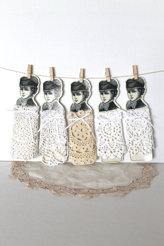 Урожай вязание крючком салфетки Малая Белая Фриволите Cream Набор из пяти дамы кружева