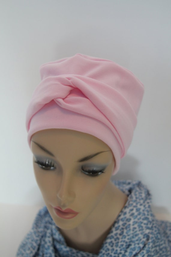 Pink Chemo Hat Cancer Cap Warm Cotton Jersey Knit Soft Feminine Womens Turban Free Ship in USA