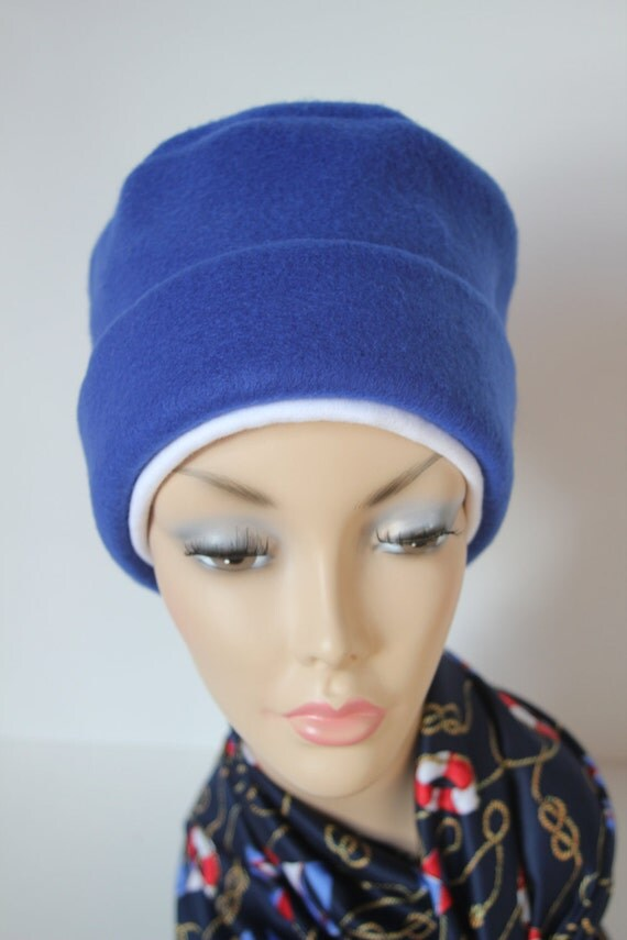 Chemo Hat Cancer Cap Womens Soft Warm Polar Fleece Royal Blue Beanie Winter Men