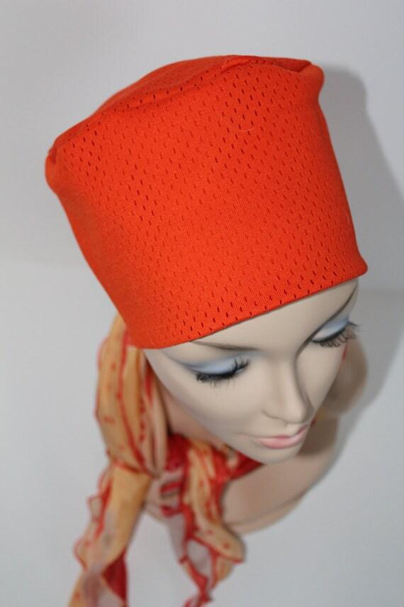 Chemo Hat Cancer Cap Sleep Orange Color Soft Beanie Women Men Free Ship in USA Kufi Style