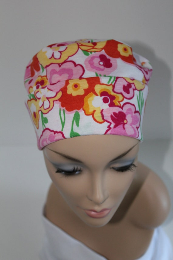 Chemo Hats Cancer Cap Cotton Jersery Knit in Pink Yellow Floral Pattern Women Turban Free Ship in USA