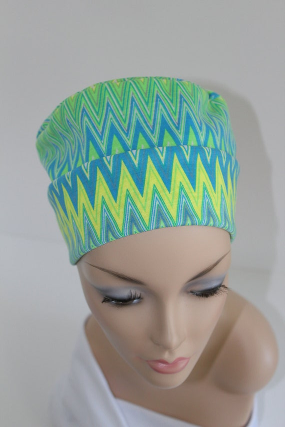 Chemo Hats Cancer Cap Cotton Jersery Knit in Neon Lime Blue and Yellow Flame Pattern Free Ship in USA