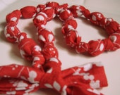 Fabric Knot Necklace - Red and White Floral