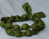 Fabric Knot Necklace - Solid Moss Green