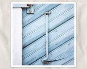 hook on blue doors, architectural photography, 8x8 print, reclaimed wood, weathered paint, blue, cyan, rustic home decor