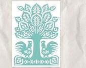 mint tree silhouette, 5x7 art print, nursery decor, rooster, bird, folk art, children decor, custom color, teal, blue, cyan, pastel, bright
