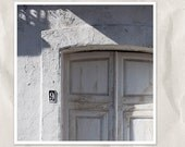 white doors photography, 12x12 photo print, old door detail, architecture photography, gray, blue, travel europe photography, french decor