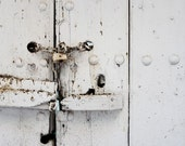 locked doors, architecture photography, white abstract photography, large wall print, padlock, key lock, white, gray industrial photo print