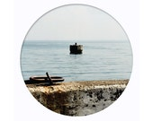 looking at the sea, circle landscape photography, seaside, 8x10 art print, coast, port, bathroom decor, mandala, gray, blue