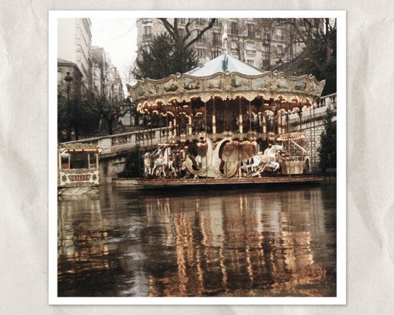 Paris carousel photography, 5x5 art print, merry-go-around, Paris photography, carnival decor, sepia, rain, lights, french home decor