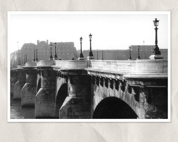 Paris photography, Pont Neuf bridge, 8x12 print, black and white, architectural, french city photography, Paris wall decor