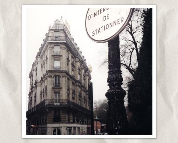 Paris photography, 5x5 print, corner building, architecture, Europe city view, Montparnass, black , white, sepia, french home decor