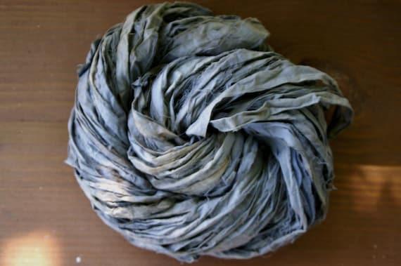 FADED GLORY - BLUE Hand-dyed Wide Muslin Rag Yarn (90yds)