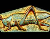 TREASURY Rare 2 Inch Czech Vaseline Glass Button Grasshopper Pictorial Gold Gilt