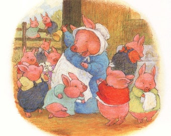 She called her piglets to supper