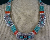 Exceptional Sterling Silver Tibetan Necklace    18 Inches