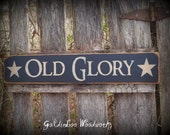 Primitve Old Glory Pine Wood Sign, Americana