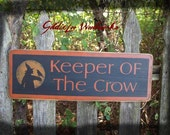 Primitive Folk Art Halloween, Keeper Of The Crows wall sign