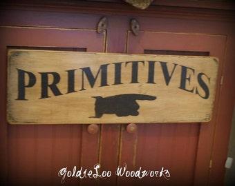 Handpainted PRIMITIVES Wood Sign