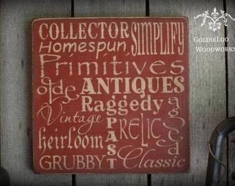 Primitive Wording Wall Sign, Typography, Word Art, Handmade