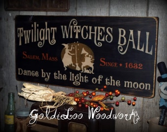 Primitive, Folk Art ,Halloween, Twilight Witches Ball wood sign