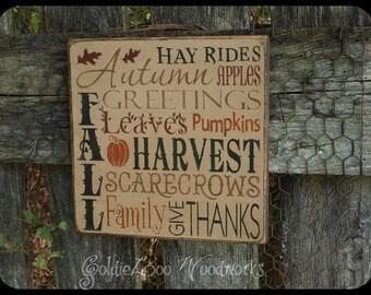 Primitive, Folk Art , Autumn Greetings Word Art sign
