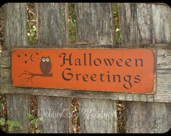 Primitive Folk Art , Halloween Greetings Wall Sign