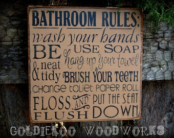Bathroom Rules, Typography Word Art, Subway Art, Primitive Sign