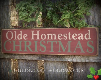 Primitive, Folk Art , Olde Homestead Christmas wall sign
